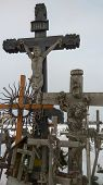 Hill Of Crosses Siauliai Lithuania. Jurgaiciai Domantai Mound Often Called The `hill Of Crosses`. On poster