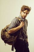 Traveling, Travelling And Vacation. Handsome Man Or Traveler With Beard And Stylish Hair, Haircut, W poster