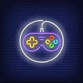Gamepad With Cable Circle Neon Sign. Video Game And Entertainment Design. Night Bright Neon Sign, Co poster