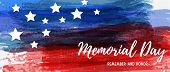 Usa Memorial Day Background. Abstract Grunge Watercolor Grunge Brushed Background In Flag Colors Wit poster