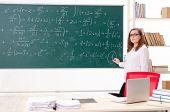 Female math teacher in the classroom  poster