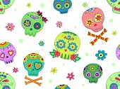 stock photo of sugar skulls  - Seamless Background Halloween Illustration Featuring Colorful Sugar Skulls - JPG