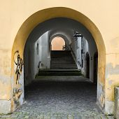 image of pavestone  - Arches gallery and passage in Passau - JPG