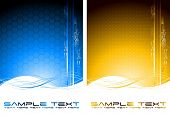 picture of octahedron  - Two abstract tech banners with waves  - JPG