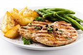 stock photo of pork cutlet  - Grilled steaks - JPG