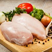 picture of turkey-hen  - Raw chicken breasts on cutting board - JPG