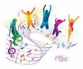 stock photo of clefs  - Active Jumping and Dancing People - JPG