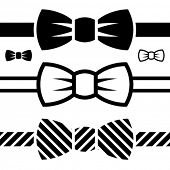 stock photo of ceremonial clothing  - vector bow tie black symbols - JPG