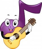 Mascot Illustration Featuring a Music Note Playing the Guitar