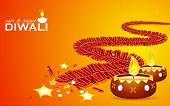 picture of diya  - illustration of burning firecracker and diya for happy and safe Diwali - JPG