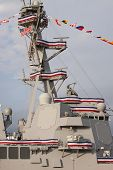 NEW YORK-OCT 6: Antenna mast and radars on the USS Michael Murphy (DDG 112) docked at Pier 88 the da