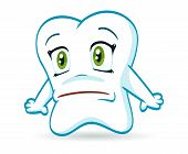 image of chibi  - An illustration of a scared cartoon tooth - JPG