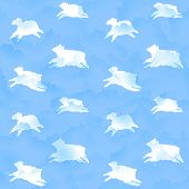 stock photo of counting sheep  - Seamless illustration of jumping sheep in blue cloudy sky - JPG
