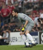 MADRID, SPAIN. 22/05/2010. Milan's goalkeeper Julio Cesar in action during the  Champions League fin