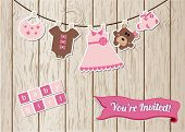 image of laundry  - New baby girl invitation card - JPG