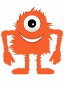 Furry Fuzzy Orange One Eyed Monster poster
