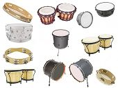 stock photo of vaudeville  - Different kinds of percussion instruments isolated under the white background - JPG