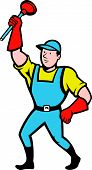 foto of plunger  - Illustration of a super plumber wielding holding plunger done in cartoon style on isolated background - JPG
