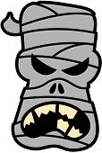 foto of terrific  - Terrific mummy wearing gray bandages and showing how in bad mood it is by wide opening its mouth with broken teeth - JPG