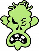 stock photo of perversion  - Scary green zombie with skinny face - JPG