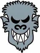 image of wolfman  - Scary werewolf face with sharpen teeth - JPG
