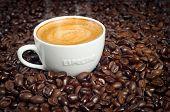 Постер, плакат: Кубок утреннего кофе в темноте жареного кофе в зернах