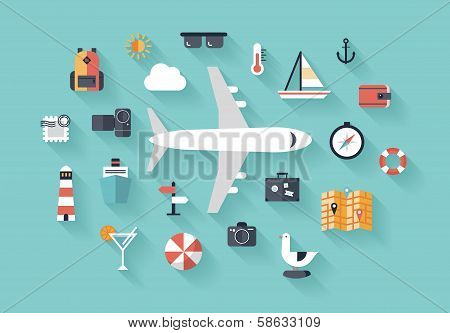 Air Trip Flat Illustration Concept poster