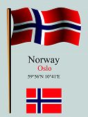 Norway Wavy Flag And Coordinates