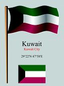 Kuwait Wavy Flag And Coordinates