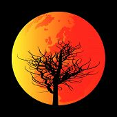 pic of global-warming  - Background illustration of a parched and dessicated tree against a red hot earth - JPG