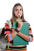 picture of bagpack  - Student girl thinking isolated on a over white background - JPG
