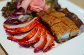 foto of pork belly  - Sliced braised and grilled pork belly chinese cuisine