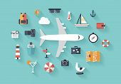 stock photo of recreate  - Flat design style modern vector illustration icons set of traveling on airplane planning a summer vacation tourism and journey objects and passenger luggage - JPG