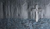 image of burial  - Old Wall With Cross made in 3d software - JPG