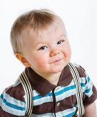 image of suspenders  - Baby boy 16 Months old wearing striped shirt and suspenders white background - JPG