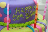 stock photo of 50th  - Fun and colorful happy 50th birthday cake - JPG