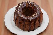stock photo of sponge-cake  - German Gugelhupf cake with chocolate - JPG