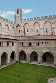 pic of avignon  - The courtyard with arcades and belfry located in Papal Palace in Avignon - JPG