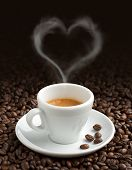 stock photo of steam  - coffee cup with heart - JPG