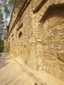 stock photo of pubic  - view of old stone castle in pubic park at Vasant Lok Newdelhi India - JPG