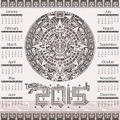 stock photo of yucatan  - Vector of calendar 2015 in aztec style - JPG