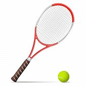 picture of titanium  - Tennis racket and ball isolated on white background - JPG