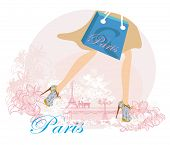 picture of up-skirt  - women Shopping in Paris close - JPG