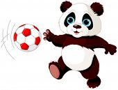 stock photo of panda  - Illustration of panda cub playing soccer - JPG