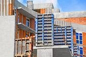 image of formwork  - Concrete formwork with a folding mechanism on construction site - JPG