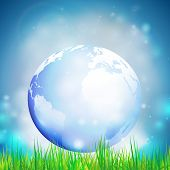 foto of land-mass  - Abstract background of globe with grass vector illustration - JPG
