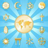 stock photo of jain  - Gold symbols of 12 international religions surround world map - JPG