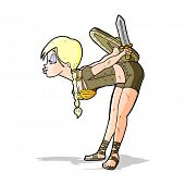 pic of valkyrie  - cartoon viking girl bowing - JPG