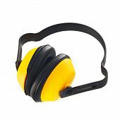 pic of muffs  - Protective ear muffs as industrial safety equipment isolated on white background - JPG