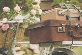 pic of bicycle gear  - Vintage bicycle on the field with a bag - JPG